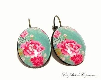 FLORAL •ESPRIT • Cabochon Stud Earrings