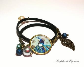 Suedine bracelet Cabochon •PAON DE TRIANON•.