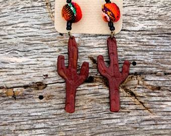 Cactus Earrings with Serape Bead, Southwestern, Western Bohemian Desert Cactus Handmade Leather Jewelry