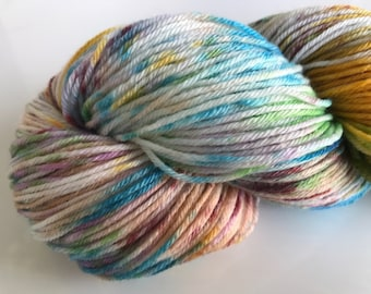 Hand dyed super wash Merino and bamboo sock yarn 'Clownbarf'