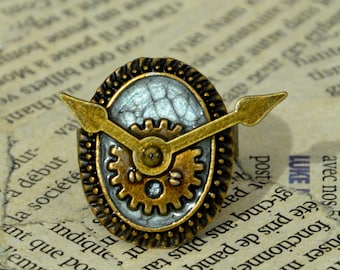 """The time of the sin"" adjustable Steampunk ring: envy"