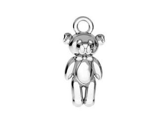 Sterling Silver (925) - Teddy Bear Charm - 17mm