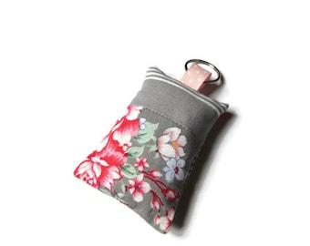 rectangular fabric - pink and gray keychain