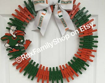 Miami Hurricanes Inspired Wreath
