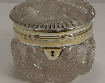 Stunning Antique English Cut Crystal Box c.1890