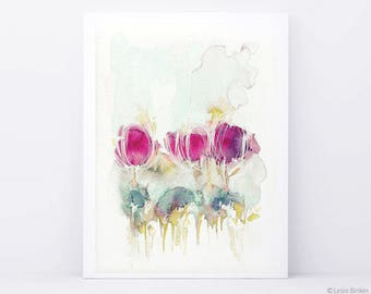 Spring in the Air, watercolor flower, watercolor painting, watercolor flower print, abstract flower, pink flower, pink watercolor