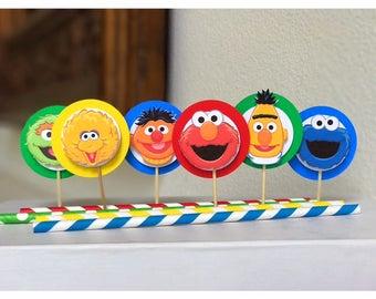 Sesame Street cupcake toppers, Sesame Street Birthday, set of 12, Sesame Street decorations, first birthday, Cookie Monster, Elmo,