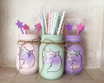 Painted Mason Jars. Unicorns. Party Decor. Unicorn Party. Girls room. Vases. Mason Jars. Birthday