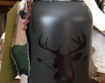 Hunting fund Mason Jar Bank-mason jar deer bank-mason jar hunting fund bank-bank- mason jar buck bank-hunting fund-cabin decor--themed bank