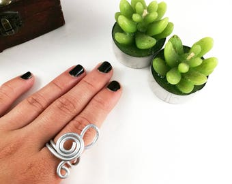 Aluminum Treble Clef Ring For Her Women Jewelry Ring treble clef for her