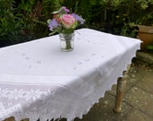 Vintage White Cotton Embroidered Tablecloth with Drawn Thread Work and Filet Crochet Edging 99x96cm