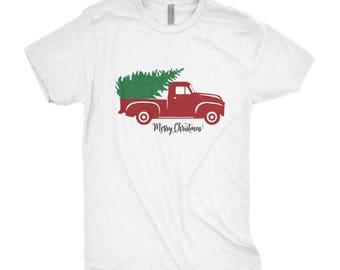 Christmas Truck Tee - Vintage Red Truck - Christmas Shirt - Christmas Tree Shirt - Christmas Tee - Christmas Tree Truck - Christmas T-shirt