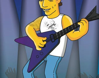 Electric Guitarist Gift - Portrait from your Photo as Yellow Cartoon Character / hard rocker gift / rock guitarist gift / rocker gift funny