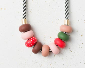 Colorful necklace, Statement necklace, Beaded necklace, Modern chunky necklace, Fashion jewelry, Brown necklace, Polymer Clay accessories