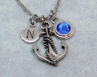Anchor necklace, swarovski birthstone, initial necklace, birthstone necklace, initial charm