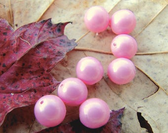 vintage style! 30 beads round (6) - pink - size 6 mm