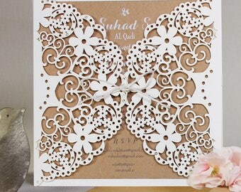 Eko Rustic Laser Cut Wedding Day Invitation