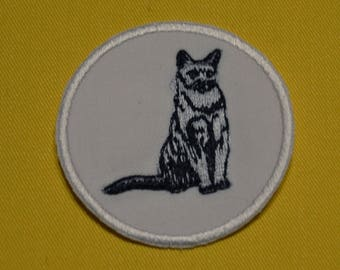 Cat embroidered badge