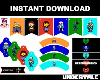 UNDERTALE Party Kit Printable in English. Instant download! Undertale Birthday Decoration,  Undertale Birthday  Banner, Undertale printable