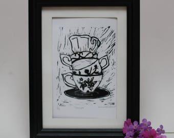 Teacup Lino Print