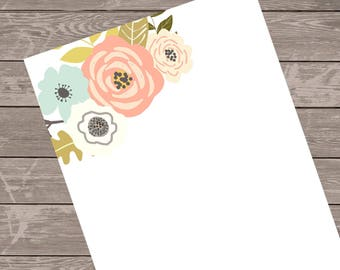 Note pad, personalized gift, custom stationery, monogram note pad. gift idea, floral notepad, floral note pad/custom gift