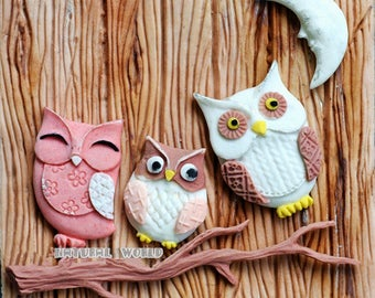 Owl silicone Mold Fondant Gum Paste Chocolate Craft Mold For Resin Polymer Clay Metal Clay,porcelain mold,cake decoration mold,Party Deco