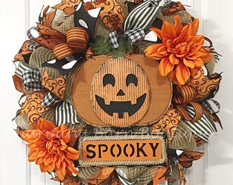 Halloween Wreath, Pumpkin Wreath, Front Door Wreath, Halloween Pumpkin Wreath, Spooky Wreath, Halloween Decor, Halloween Decoration