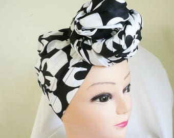 Black and White Floral Ankara Head wrap, DIY head tie, Stylish African head scarf, Fabric hair accessory – Made to Order