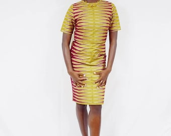Berry and Yellow Pulse Design Pencil Skirt and Cropped Top, Ankara Pencil Skirt, African Wax Short Skirt – Made to Order