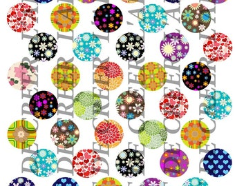 Digital boards with 50 cabochons 25mm heart Retro flower pattern