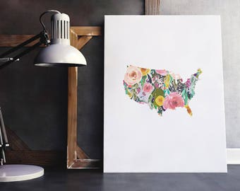 USA Map Print | America Map, America Poster, Floral USA Art, USA Travel Map, United States Wall Art, Immediate Download, Printable Poster