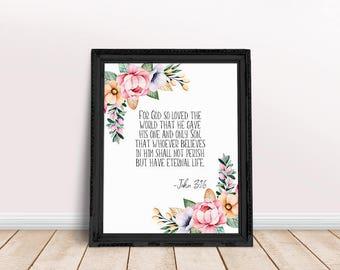 John 3-16 Verse | John Bible Verse, John Floral Verse, Bible Verse Floral, Floral Scripture, For God So Loved, Bible Verse, John Scripture