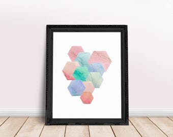 Marble Hexagons | Hexagon Art Decor, Marble Decor Print, Marble Shape, Marble Prints, Hexagon Abstract, Hexagon Wall Art, Hexagon Wall Decor
