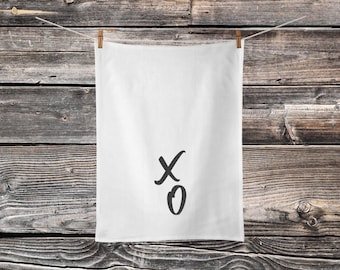X O - Kisses and Hugs - Tea Towel - Cotton Towel - Flour Sack Towel - Wedding Shower Gift