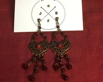 90s Vintage Copper Dangle Heart And Beads Earrings