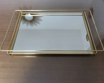 great minimalist modernist mirror tray golden metal 1950 1960 50's 60's vintage old french mirror tray