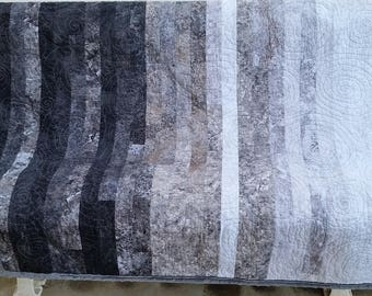 Quilted Throw, Lap Quilt - Modern Contemporary - Gradient Black, Gray, White