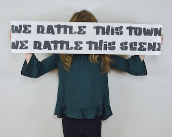 Walk-The-Moon-Inspired Quote Sign // Painted Walk The Moon Sign // We Rattle This Town Quote Sign