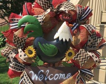 Rooster Farmhouse Wreath~Summer Wreath~24 inch Burlap Mesh Wreath~Burlap Wreath~front door wreath~rustic decor~farmhouse wreath