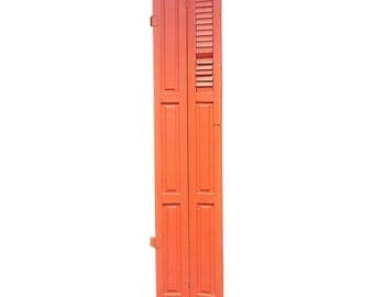Vintage ORANGE WOOD SHUTTER Louvered architectural salvage exterior shabby wooden farm house wall hanging barn panel hinged chippy paint