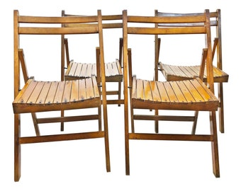 4 Vintage Wooden FOLDING CHAIR SET lot antique wedding church slat slatted bistro loft country rustic pair cottage chic funeral home 17403