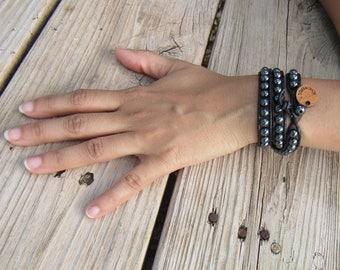 Hematite Wrap Bracelet (1 - 5 wraps, 4mm to 10mm beads)