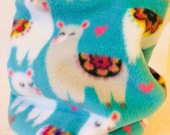 Neck Warmer, Reversible Fleece Neck Warmer, Llama Pattern Scarf, Gaiter