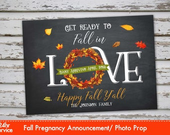 Fall Pregnancy Announcement, Autumn Pregnancy Photo Prop, Chalk Fall Announcement, Fall Pregnancy, Autumn Pregnancy Announcement Card