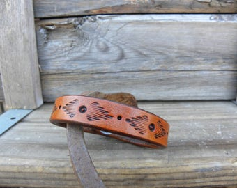 Leather Bracelet, Leather Jewelry, Tooled Leather Bracelet, Western Jewelry
