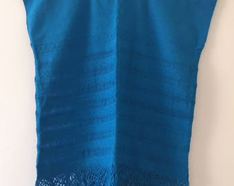 Tradicional Mexican  ~  turquoise ~ Blouse of Loom