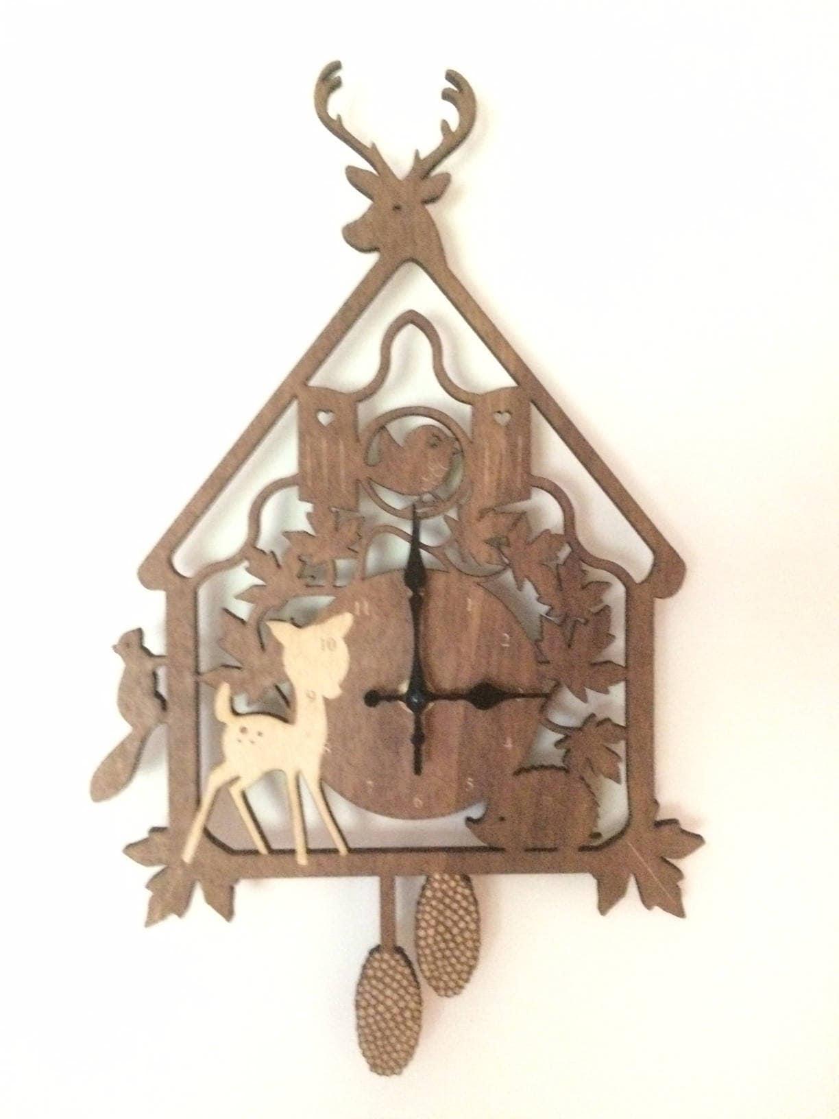 wooden cuckoo clock woodland animal clock nursery. Black Bedroom Furniture Sets. Home Design Ideas