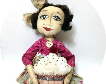 Cupcake Cathy ~ Handcrafted Primitive Folk Art Doll