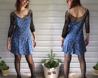 Vintags 1990s Blue & Purple Floral Slip / Dress size M/L