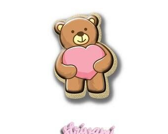 Teddy Bear With Heart Cookie Cutter,Teddy Bear Cookie Cutter,Teddy Cookie Cutter,Baby Shower Cookie Cutter,Baby Cookie Cutter